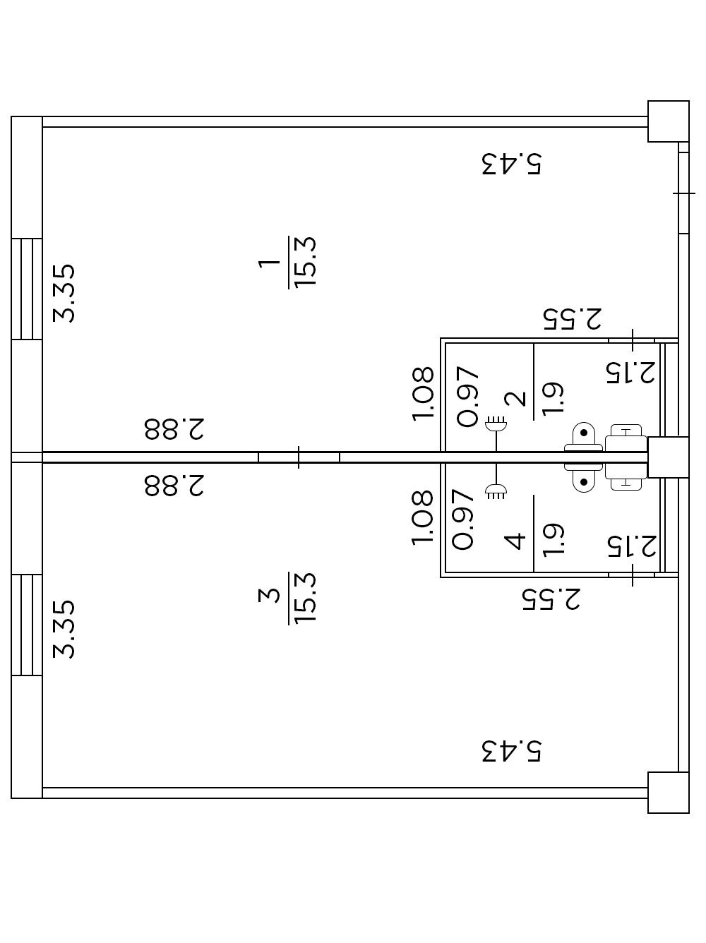 Двухкомнатная гостинка с одним стояком 34,5 кв.м.