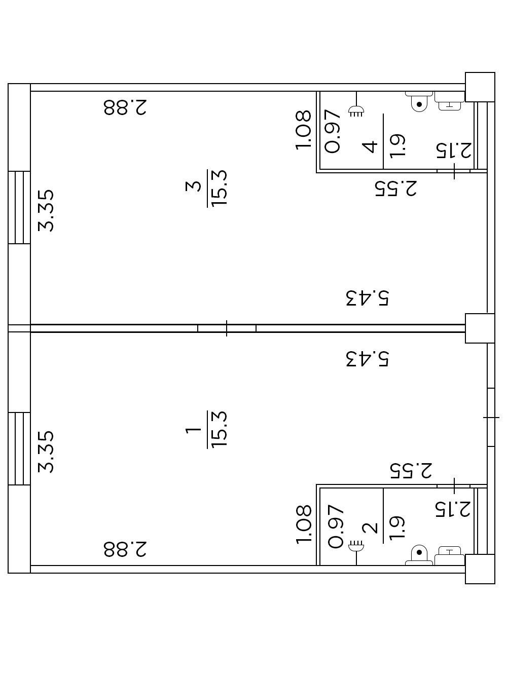 Двухкомнатная гостинка с двумя стояками 34,5 кв.м.